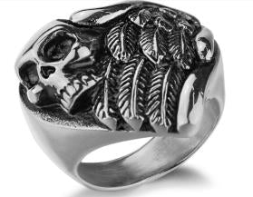 Stainless Steel Feather Wings Skull Biker Ring