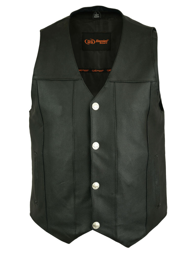 Men's Single Back Panel Concealed Carry Plain Side Leather Vest w/ Buffalo Snaps