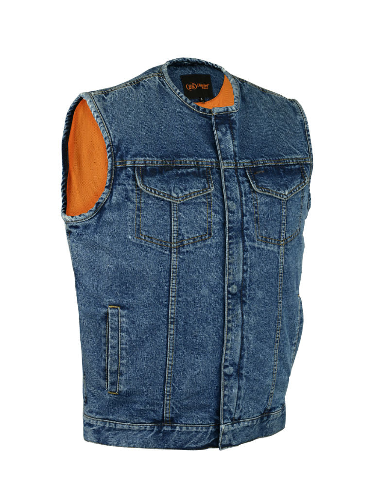 Men's Concealed Carry Hidden Snap/Zipper Blue Denim Vest w/o Collar