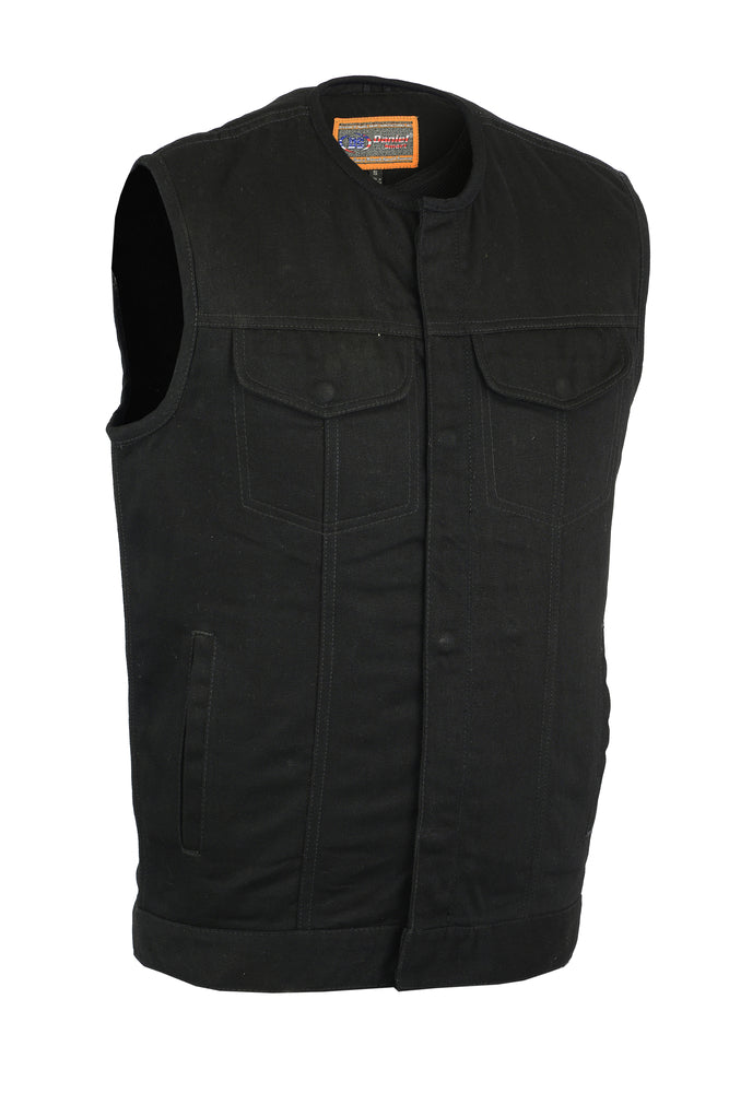 Men's Concealed Carry Hidden Snap/Zipper Black Denim Vest w/o Collar