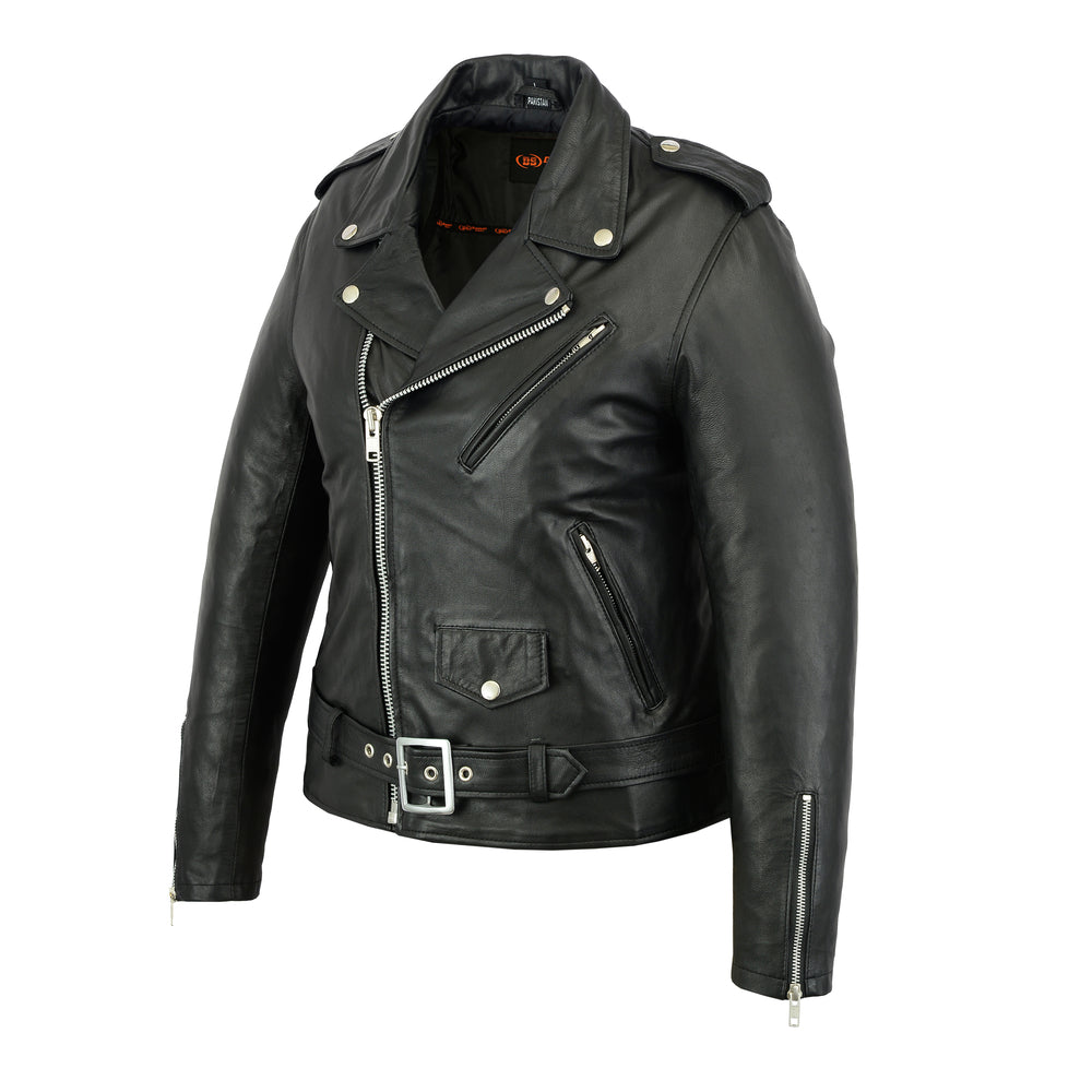 Women's Classic Plain Side Fitted M/C Style Leather Jacket