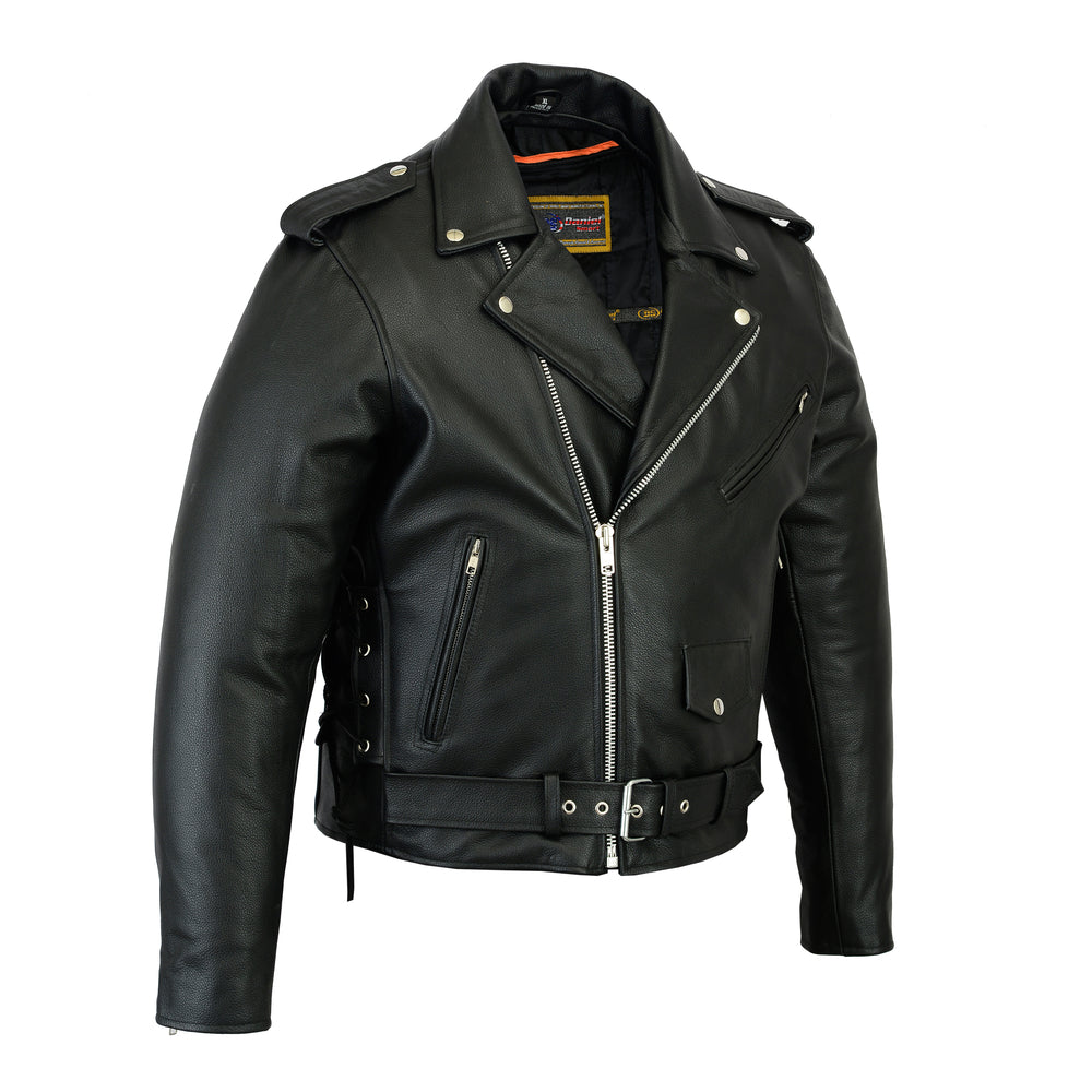 Men's Classic Side Lace Police Style Leather M/C Jacket