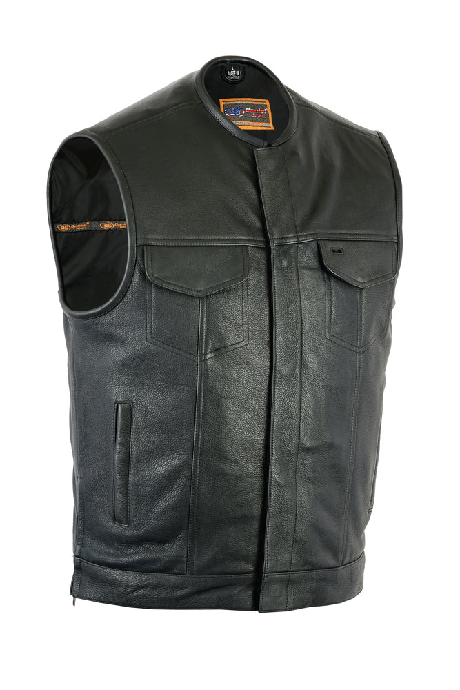 Men's Upgraded Style Gun Pockets Hidden Gun Metal Zipper Bottom Side Zipper Leather Vest