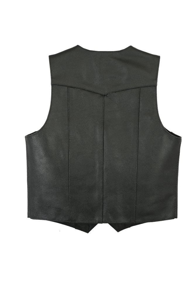 Kid's Traditional Style Plain Side Leather Vest