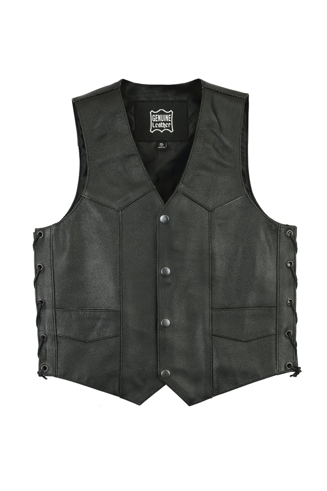 Kid's Traditional Style Lace Side Leather Vest