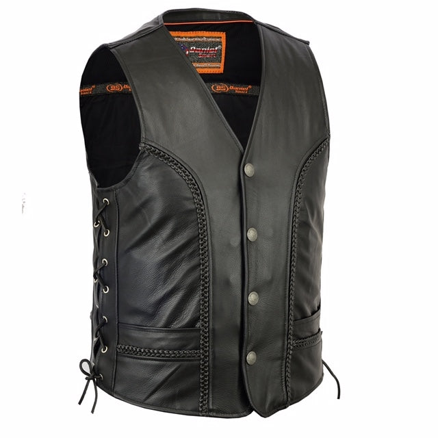 Men's Braided Leather Vest w/ Buffalo Nickel Head Snaps