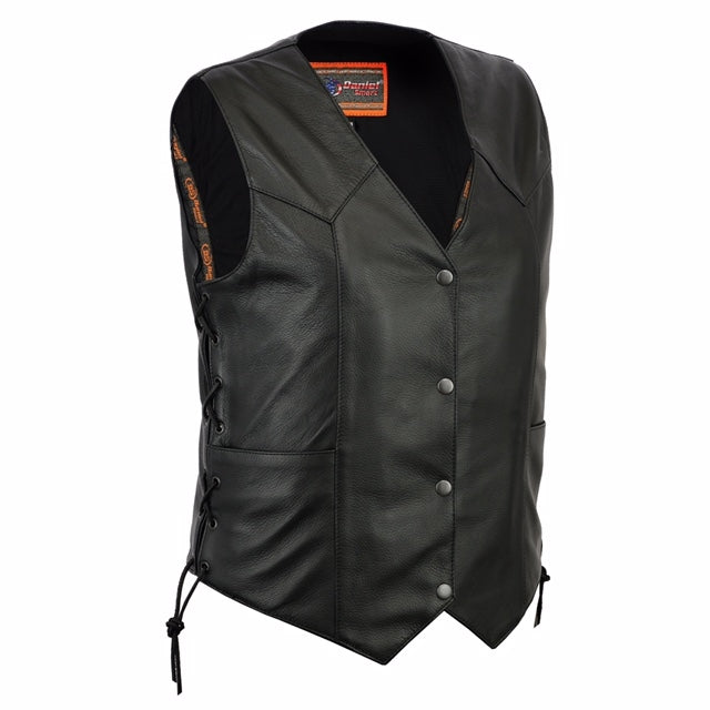 Women's Classic Side Lace Leather Vest