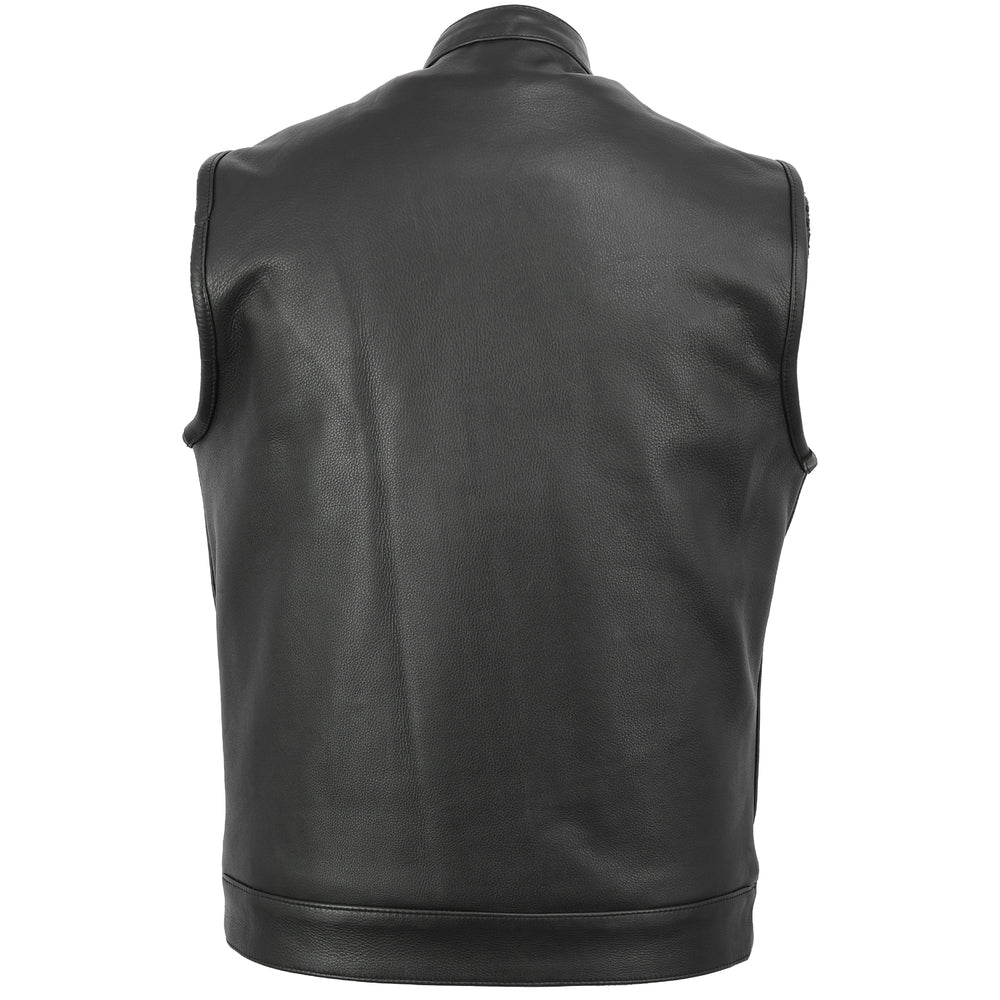 Men's Concealed Snaps Premium Naked Cowhide Hidden Zipper Vest w/ Removable Hood