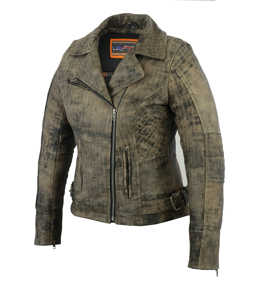 Women's Updated Stylish Antique Brown Leather M/C Style Jacket