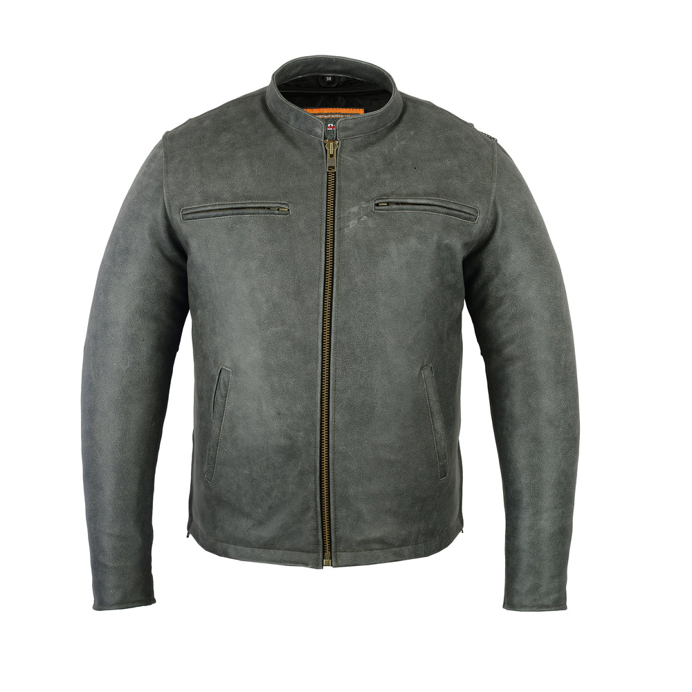 Men's Gray Leather Sporty Cruiser Jacket