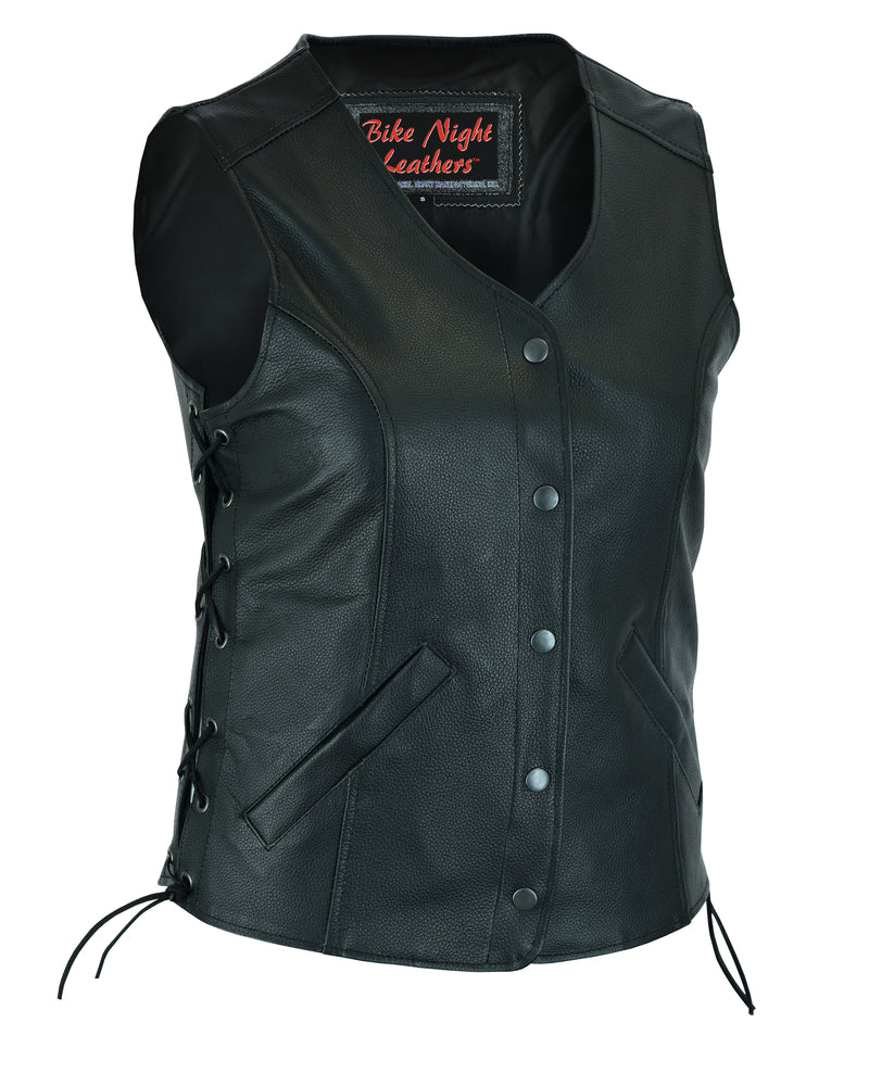 Women's Stylish Leather Long Body 3/4 Vest w/ Lacing
