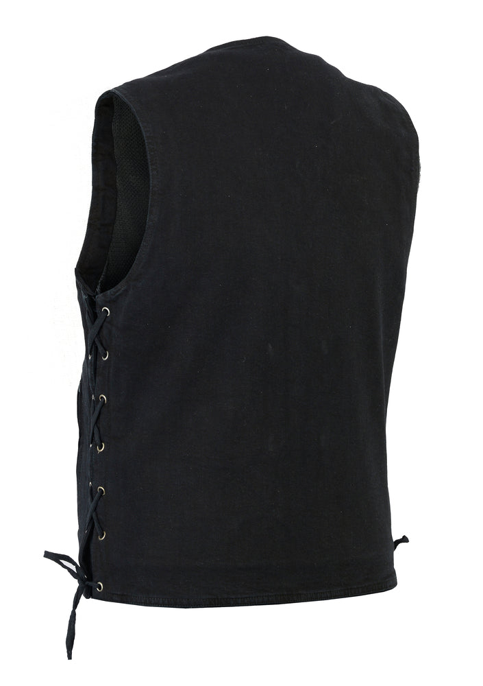 Men's Single Back Panel Concealed Carry Side Lace Black Denim Vest