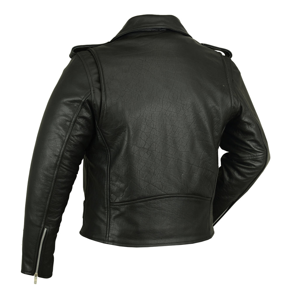 Men's Classic Plain Side Police Style Leather M/C Jacket