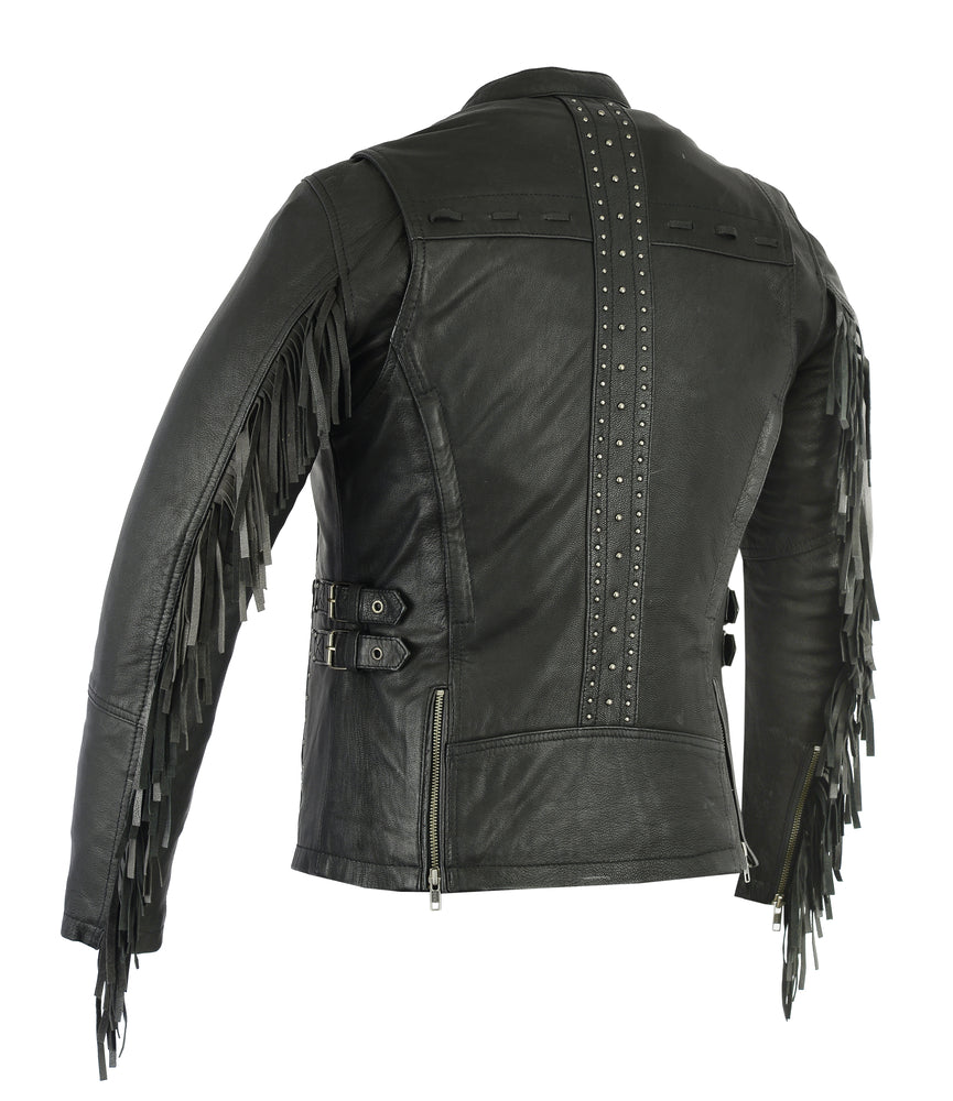 Women's Stylish Leather Jacket w/ Fringe