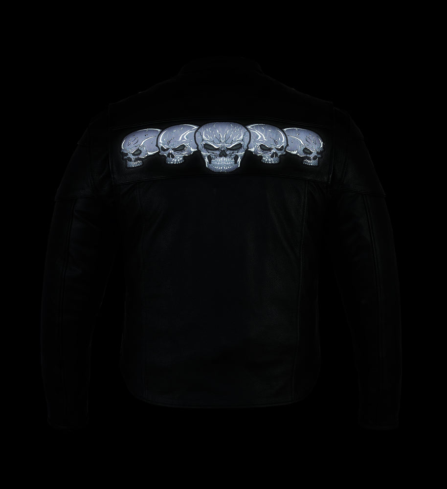 Men's Leather Scooter Jacket w/ Reflective Skulls