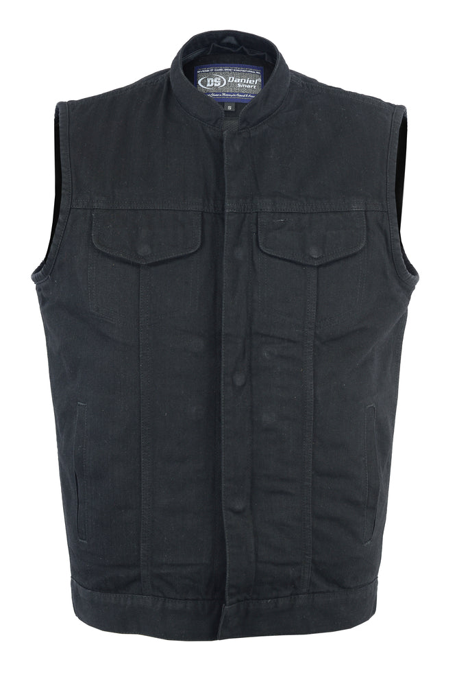 Men's Single Back Panel Black Denim Concealment Vest w/ Removable Hood
