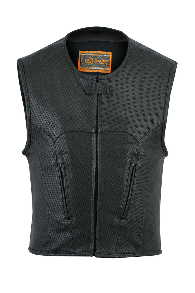 Men's Updated Perforated Leather SWAT Team Style Vest