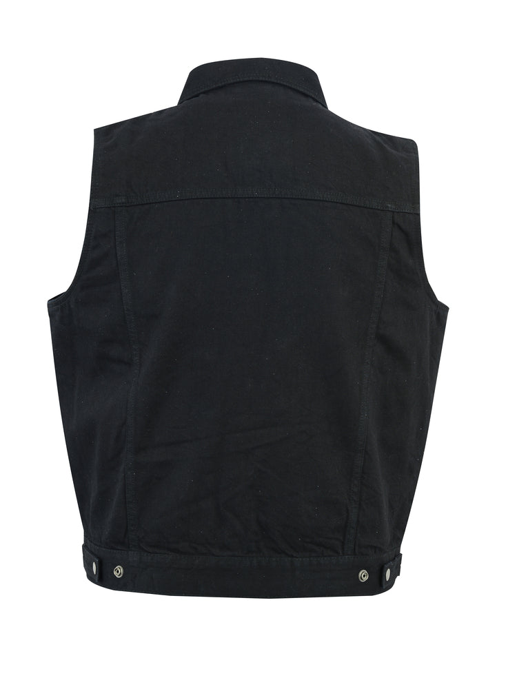 Men's Snap/Zipper Front Black Denim Concealment Vest w/ Shirt Style Collar