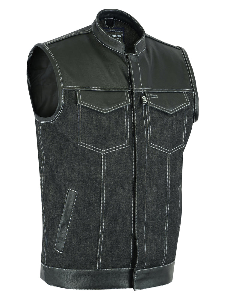 Men's Black Leather/Denim Combo Vest