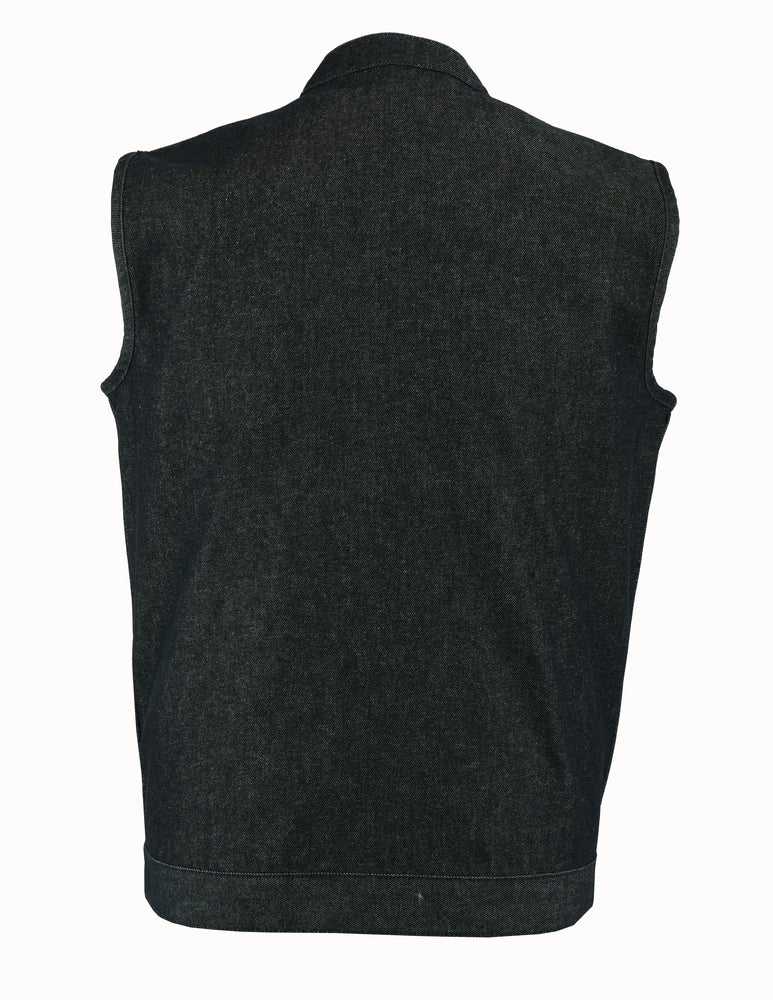 Men's Rough Rub-Off Raw Finish Black Denim Vest
