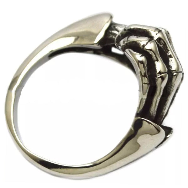 Stainless Steel Skull Fingers Biker Ring