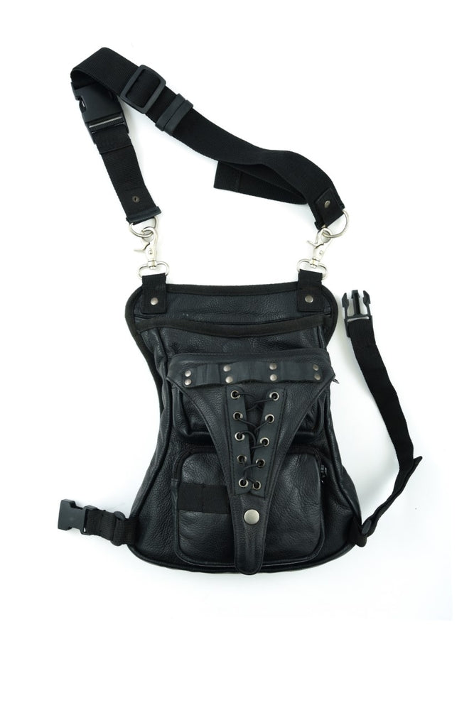 Premium Leather & Lace Thigh Bag w/ Waist Belt