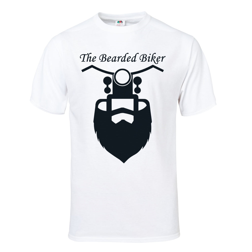 Men's Bearded Biker White T-Shirt