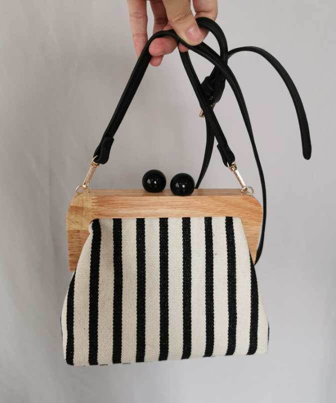 Vintage Striped Wooden Clip Bags