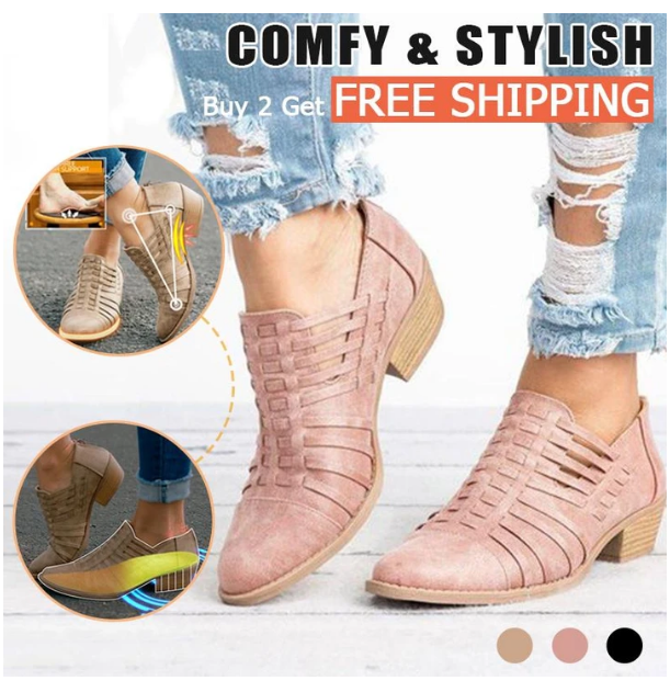 Women's Braided Chunky Heel Fashion Shoes