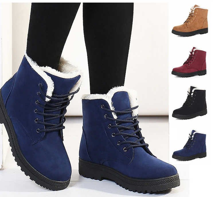 Hot Fur Plush Insole Winter Boots For Women