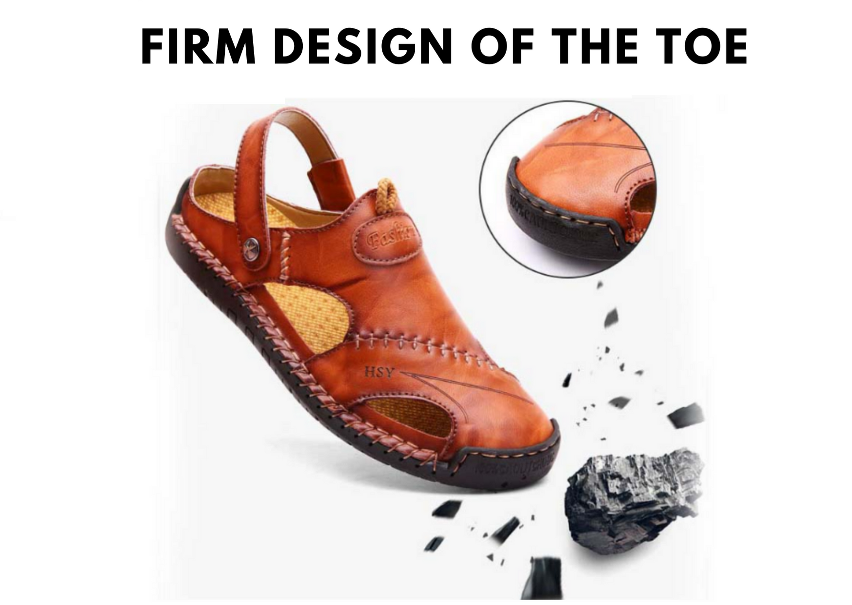 Men Hand Stitching Closed Toe Leather Sandals