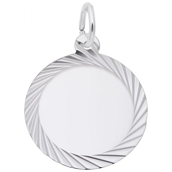 Sterling Silver Diamond Faceted Round Disc #14