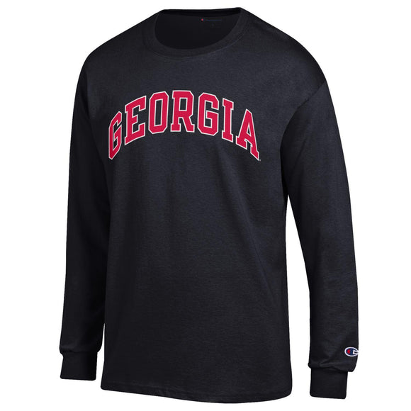 Arched Georgia Champion Long Sleeve T-Shirt Black