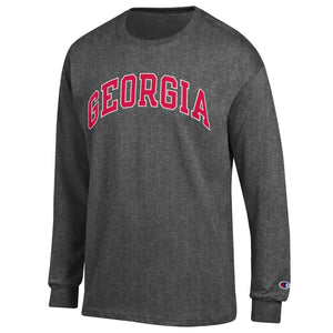 Arched Georgia Champion Long Sleeve T-Shirt Granite Heather
