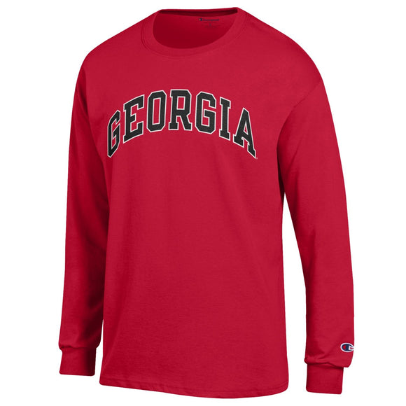 Arched Georgia Champion Long Sleeve T-Shirt Red