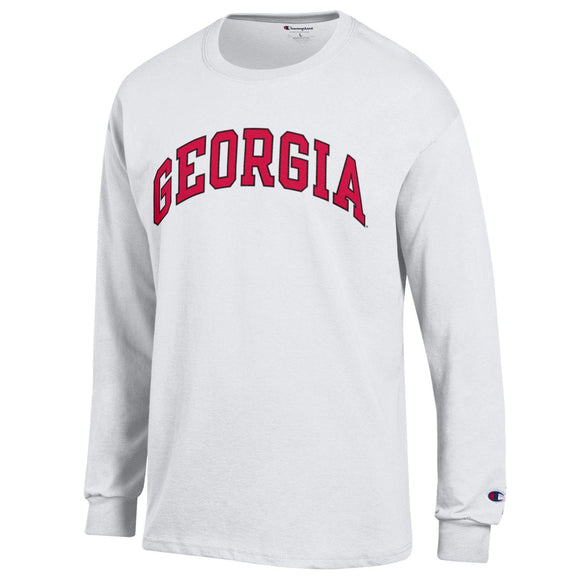 Arched Georgia Champion Long Sleeve T-Shirt White