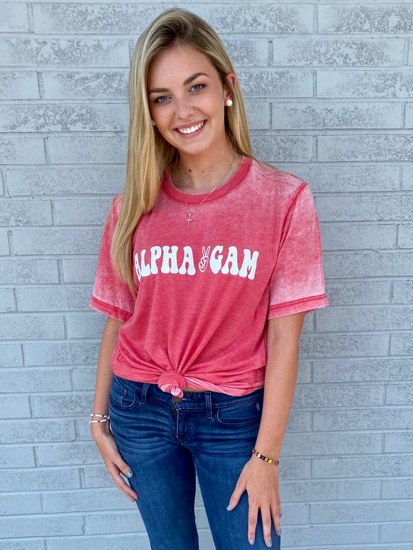 The Peace Acid Wash Sorority Tee