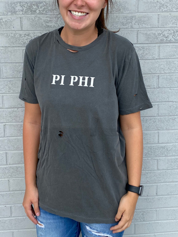 UGA Group Order: PI PHI Charcoal Destroyed Sorority Tee