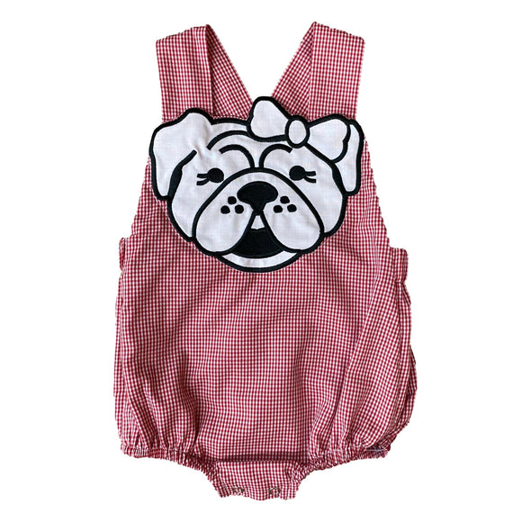 Little Girl Bulldog Applique Bubble