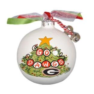 Magnolia Lane Go Dawgs Christmas Tree Porcelain Ornament