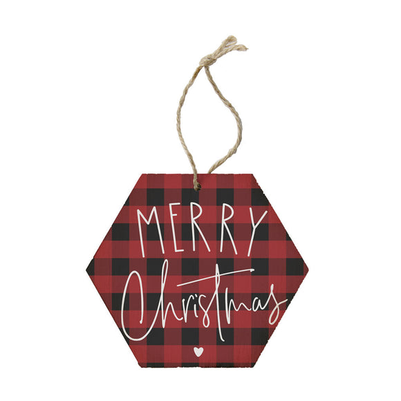 Merry Christmas Plaid Wooden Ornament