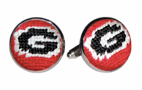 University of Georgia Georgia Bulldogs Smathers and Branson Needlepoint Cufflinks