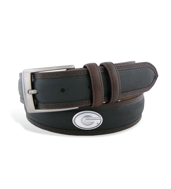 UGA Two-Tone Stitch Leather Concho Belt Men's