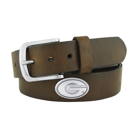 UGA Concho No Tip Brown Leather Belt