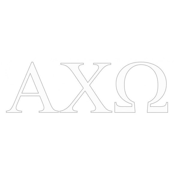 Sorority Greek Letter White Window Decal