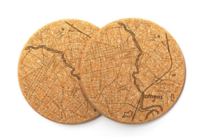 Athens, Georgia Maps Cork Coaster Pair