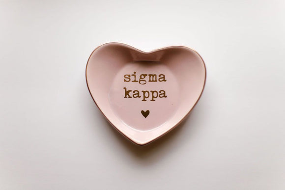 Sorority Heart Shaped Ceramic Ring Dish