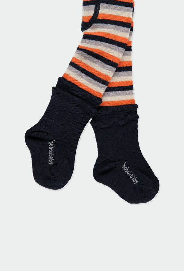 Orange Thick Tights Striped for Baby Girl -Il Bambino Store