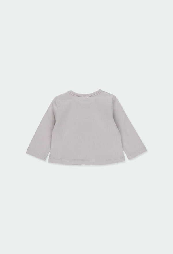 "Grey Knit T-Shirt ""Penguin"" for Baby Boy - Il Bambino Store"
