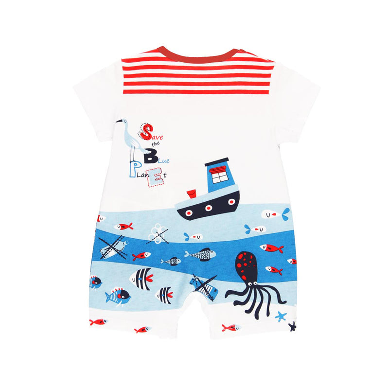 "Knit Playsuit ""Sea World"" for baby boy - Il Bambino Store"